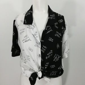 Vintage 90s Button Down Shirt Size M Black
